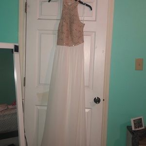 gorgeous tan and white long dress